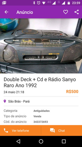 stereo system sanyo 1992 (double deck k7+ cd player) retrô