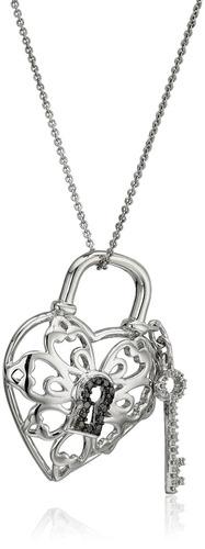 sterling silver diamond lock y collar de corazón clave colga