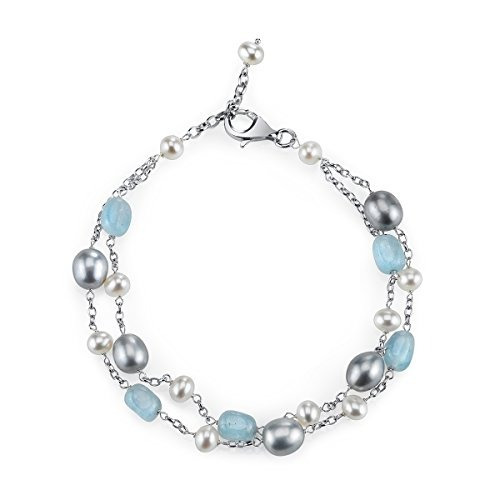 sterling silver milky aquamarine y cultured freshwater pearl