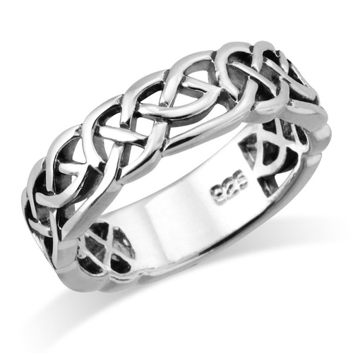 sterling silver tejido celtic knot trinity band anillo - tam