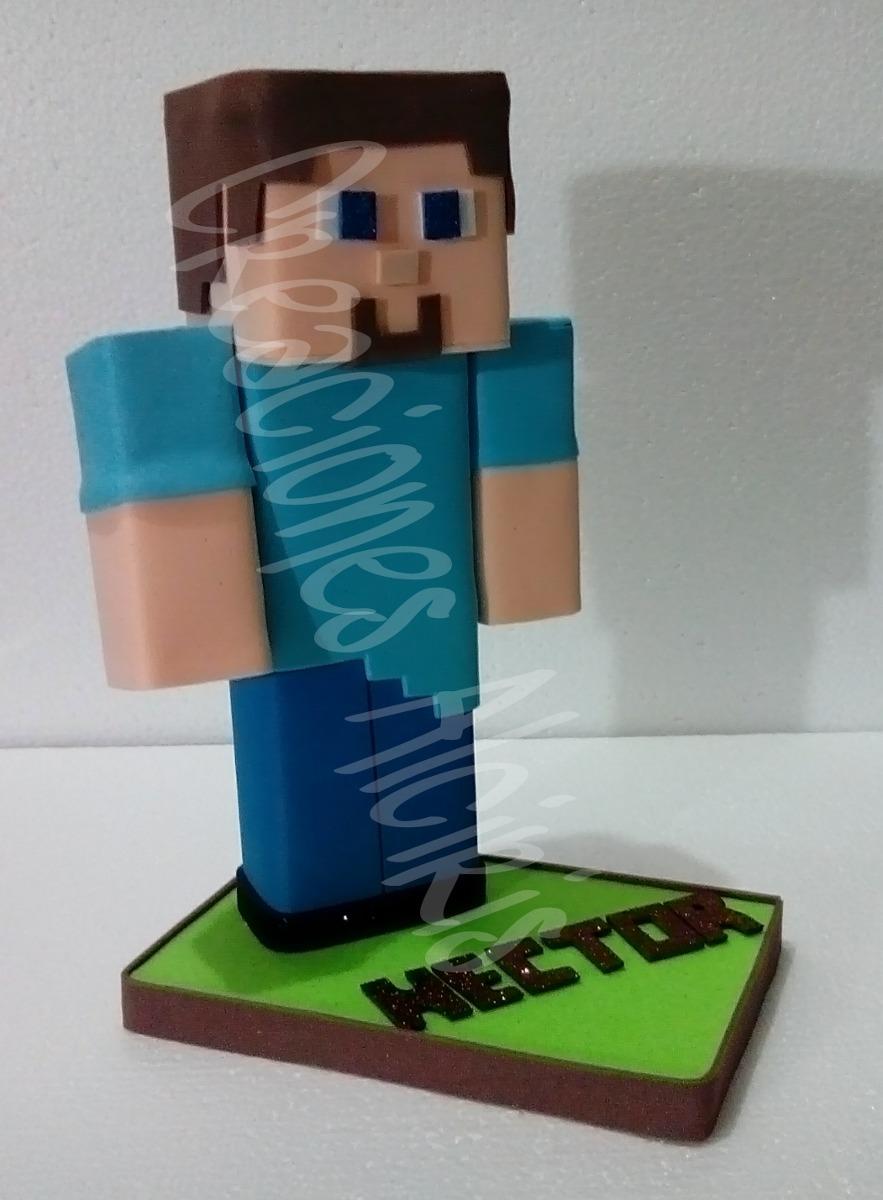 Steve Minecraft Centro De Mesa Foami Fofuchas 80 00