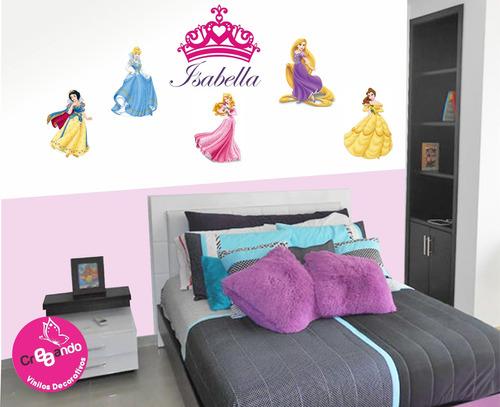sticker adhesivo princesas completas con castillos y nombres