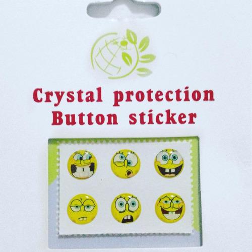 sticker boton iphone diseños variados empaque 6 x 2