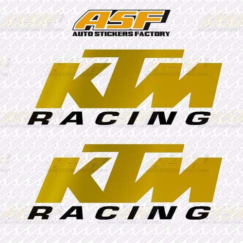 sticker calcomania vinil - logo ktm racing dorado