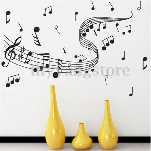 sticker decorativo etiqueta desprendible notas musicales