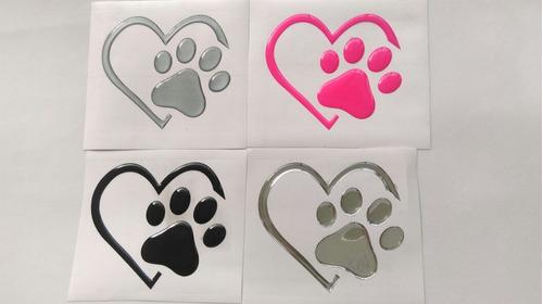 sticker huellas patitas de perro corazon en 3d