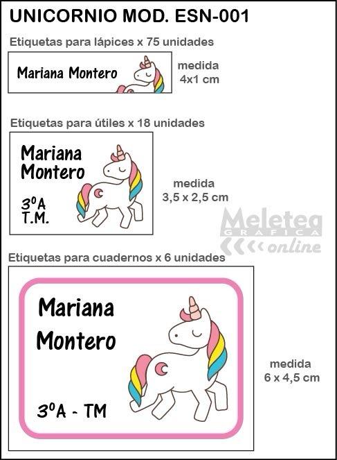Sticker Imprimible Etiqueta Escolar Utiles Lapices Unicornio - $ 60 ...