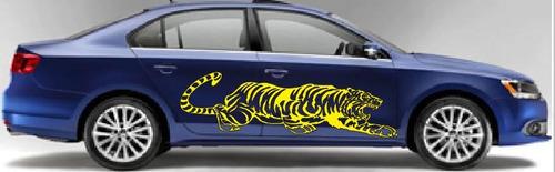 sticker lateral tigre acechando vinil jetta tsuru mustang