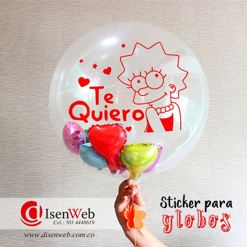 sticker para globos, adhesivos decorativos / pack 12 unid