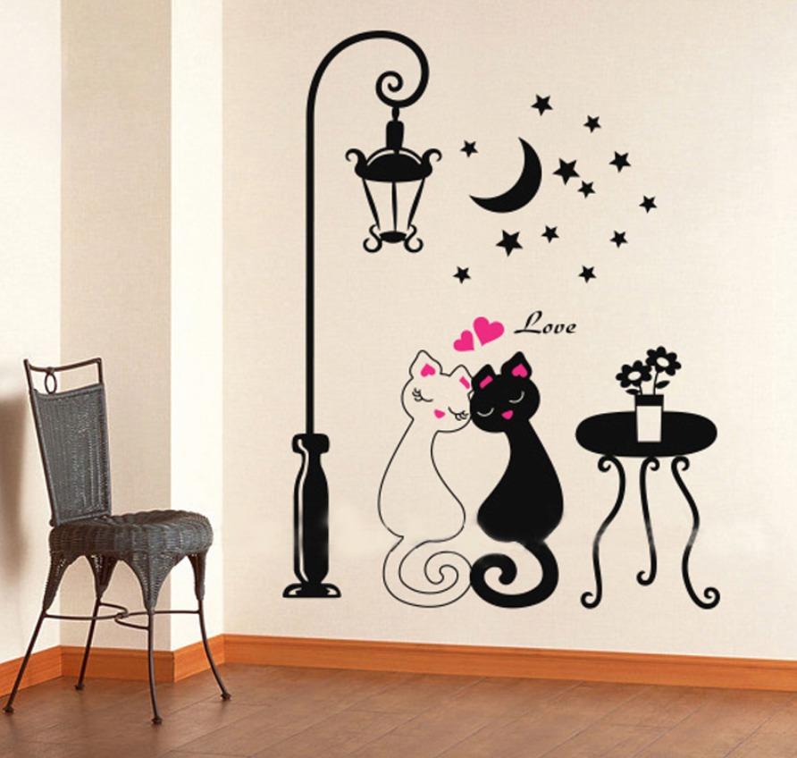 Sticker vinil decorativo de pared para el hogar gatitos for Stickers decorativos de pared