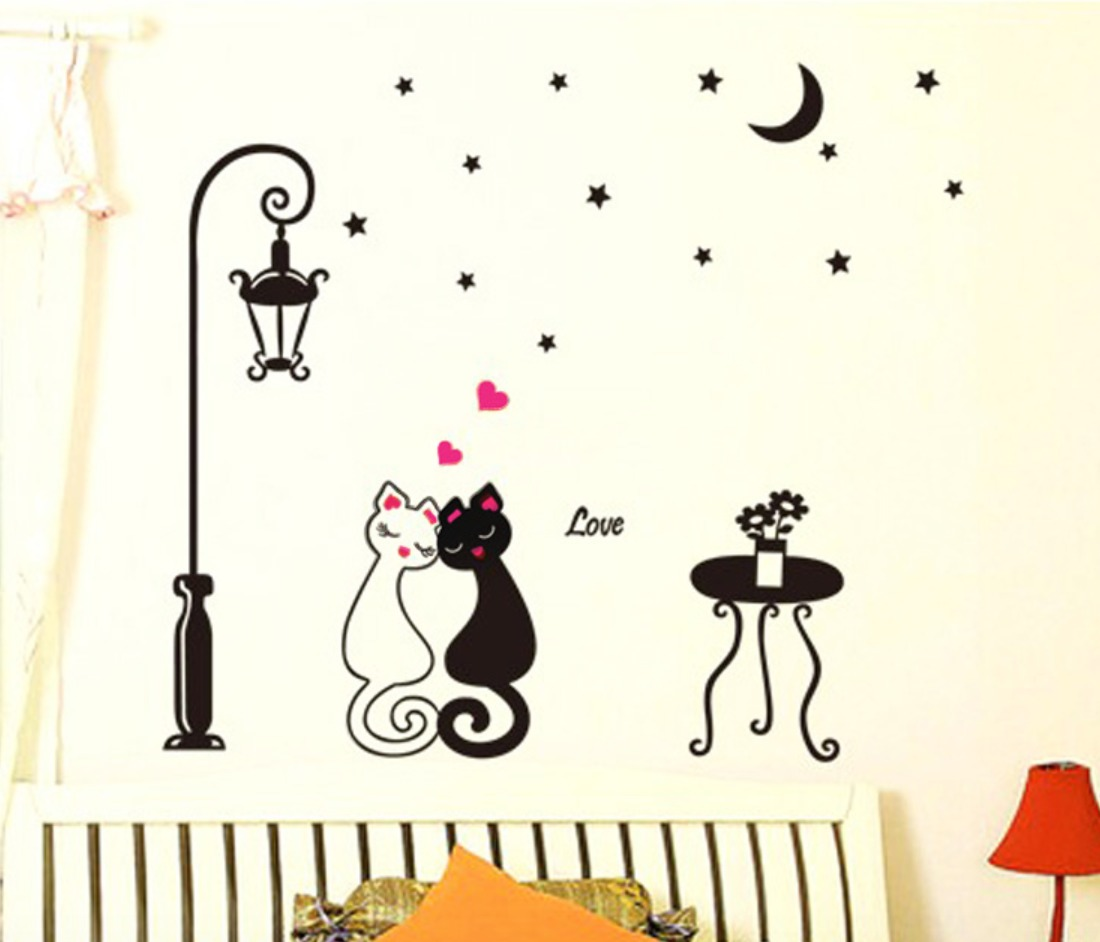 Sticker vinil decorativo de pared para el hogar gatitos for Stickers decorativos de pared