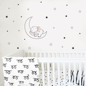 Sticker Vinilo Decorativo Para Bebé Niños Elefante En La Lun