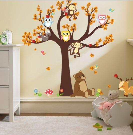 Stickers Adhesivos Vinilos Mural Animalitos Bebe Ninos 6 500 En