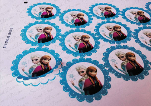stickers de frozen cortados para candy bar o mesa dulce