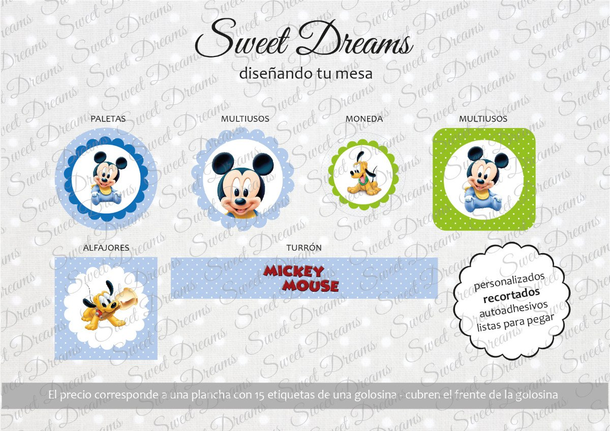 Stickers De Mickey Bebe Cortados Para Candy Bar O Mesa Dulce - $ 27 ...
