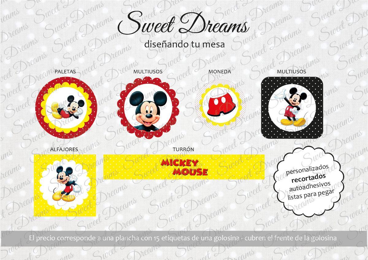 Stickers De Mickey Cortados Para Candy Bar O Mesa Dulce - $ 27,99 en ...