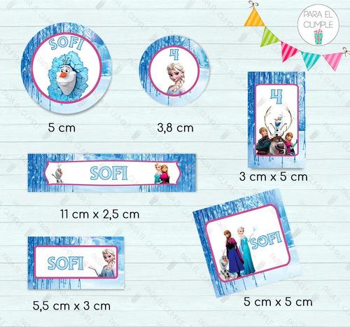 stickers etiquetas frozen candy bar  cortados kit x120 u