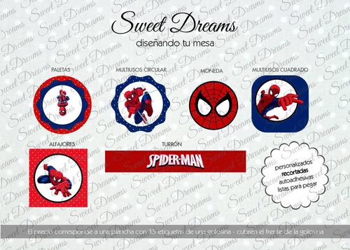 stickers hombre araña cortados para candy bar o mesa dulce