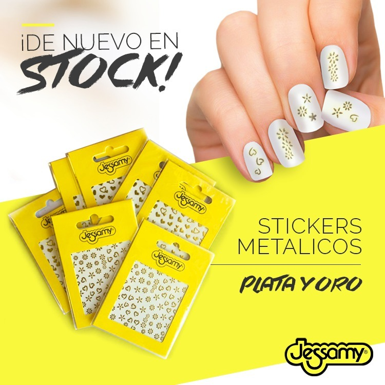 Stickers Metálicos Plata Y Oro Para Uñas. Jessamy U7 / U9 - $ 70,00 ...