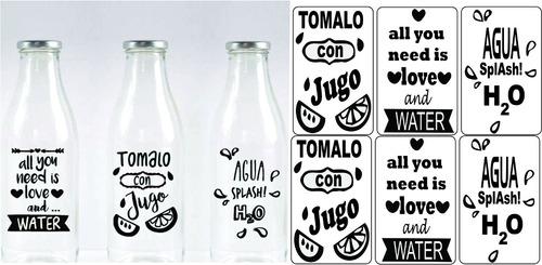 stickers para frascos en vinilo transparente x 24