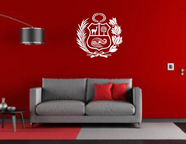 Stickers Vinil Decoracion Pared Escudo Nacional Peru Mundial S 60 - Decoracin-de-pared