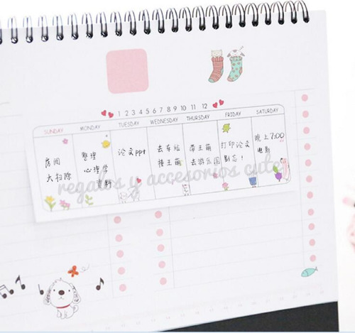 sticky note,planeador semanal notas kawaii korea