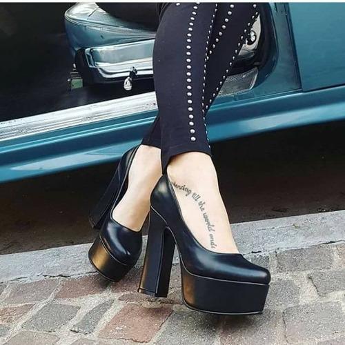 stilettos zapatos plataforma cuero vacuno 100%