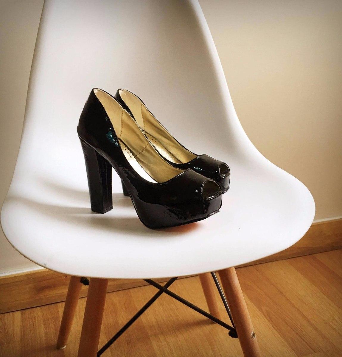 stilettos zapatos taco palo acharolado negro fiesta ! nude y. Cargando zoom. 895be0904b3e