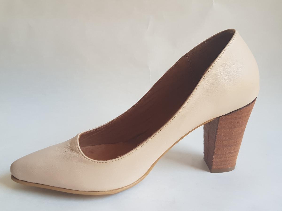b5cb72def791f stilleto zapato de cuero con taco madera color nude oferta. Cargando zoom.