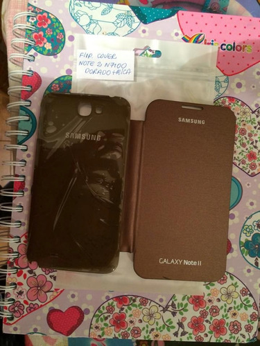 stock  estuche flip cover samsung note 2 n7100 color bronce