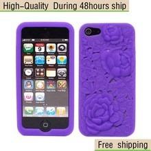 stock estuche protector case iphone 5s rosas 3d morado