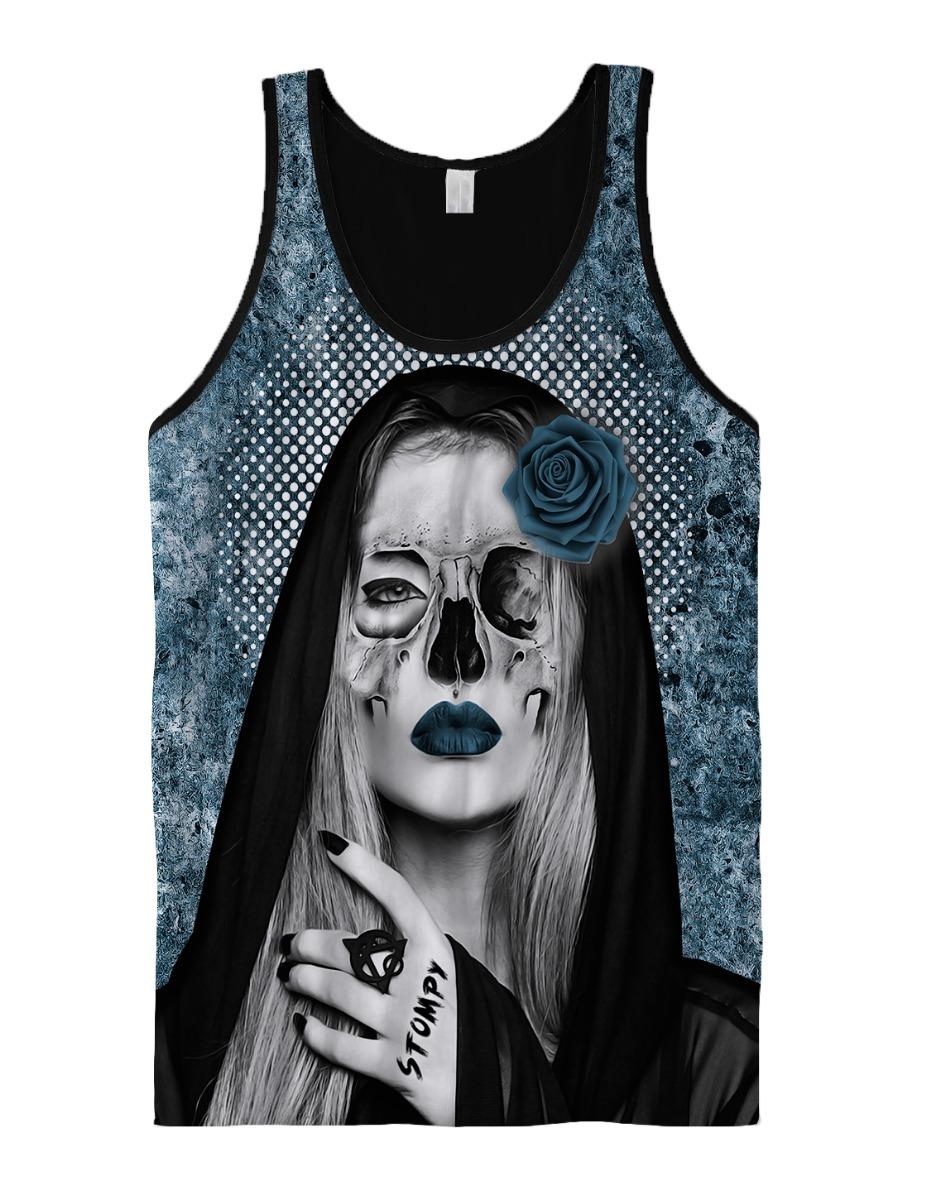 20a56cd42d42a stompy camiseta regata catrina skull face tattoo design. Carregando zoom.