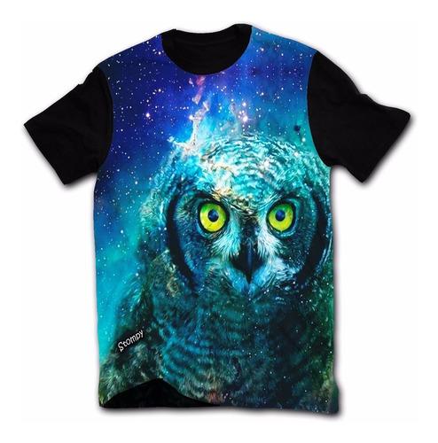 stompy camisetas - coruja - psicodélica - owl promoção