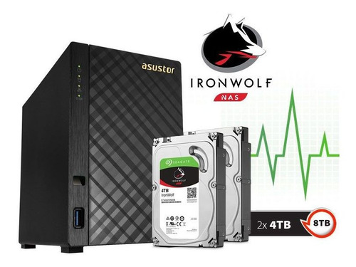 storage nas servidor asustor 8tb ironwof as1002t8000 2 x 4tb
