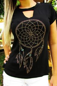0b51e53ec8 Strass Blusas Femininas Camiseta Filtro Sonhos Apanhador