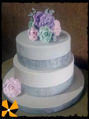 strass galon para tortas costura y decoraciones x rollo 9 mt