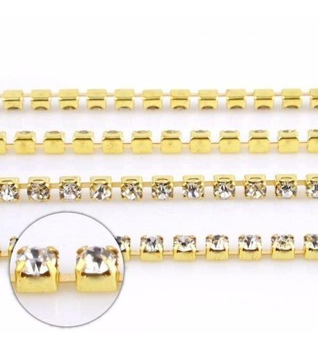 strass  metro corrente - rolo com 50 mt - dourado ss 12