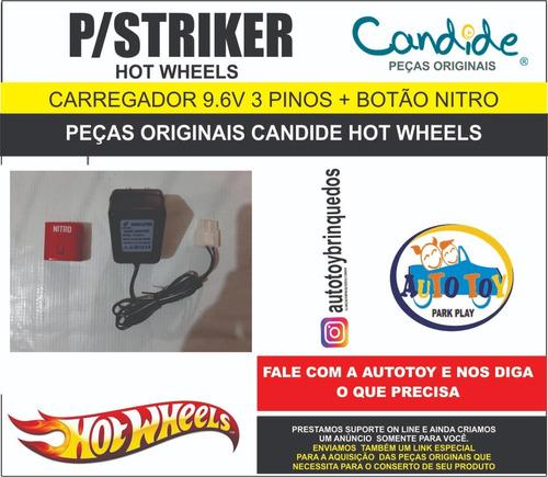 striker  4560- hot wheels - carregador 3 pinos + botão nitro