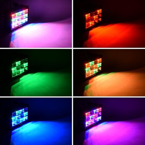 strobo rítmico 12 leds rgb 15w dj iluminação festa balada