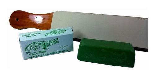 strop de couro + pasta verde cromo jacare afiar amolar facas