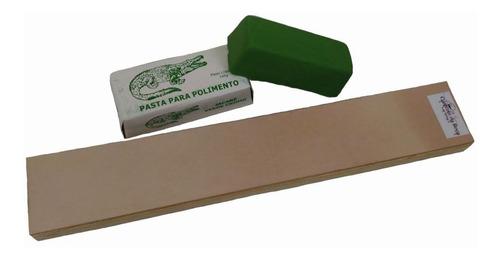 strop de madeira balsa com couro + pasta oxido cromo jacare