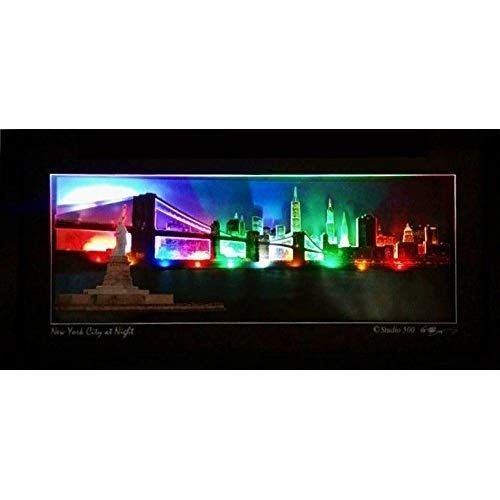STUDIO 500 NYC SKYLINE AT NIGHT UP Copyright Ready To Hang 100/% Glass /& Framed