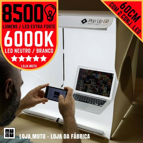 studio box portátil 60cm da mutu photo studio 8500 lumens