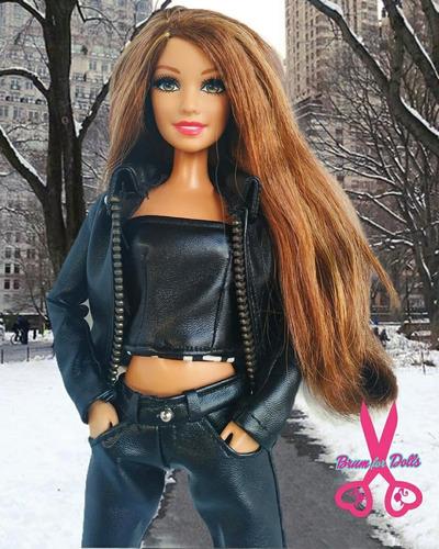style luxo roupas 1/6 couro roupinhas p/ barbie kit lote