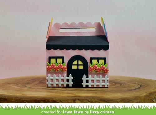 suaje lawn fawn scrapbook scalloped treat box spring house