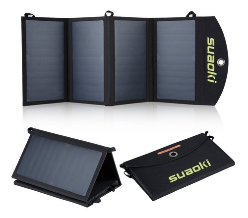 suaoki cargador solar 25w panel 2 usb plegable portátil