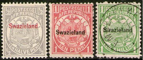suazilandia serie no completa x3 sellos escudo de armas 1889