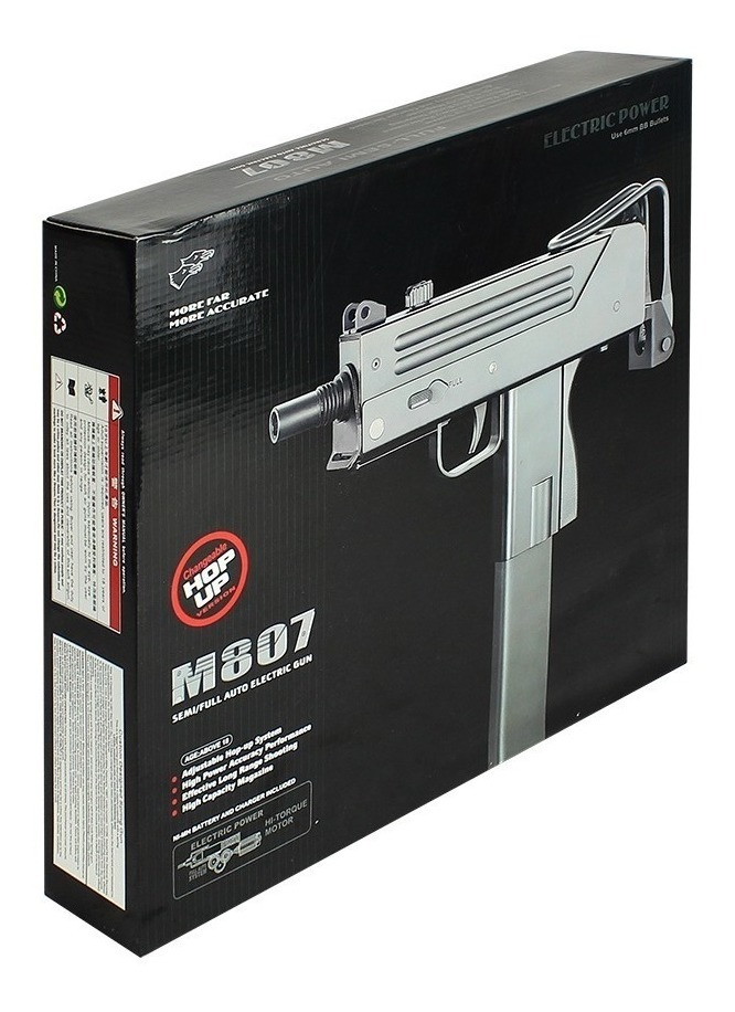 Sub Metralhadora Airsoft Mini Uzi M807 Elétrico + 5000 Bbs