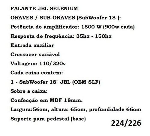sub nhl 18 ativo + passivo falante jbl selenium 1800w