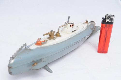 submarino lata bronce t pirata corsario juguete antiguo